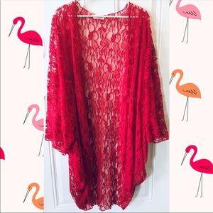 Tops - Burgundy Lace Kimono
